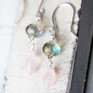 Rose Chalcedony Green Silver Earring